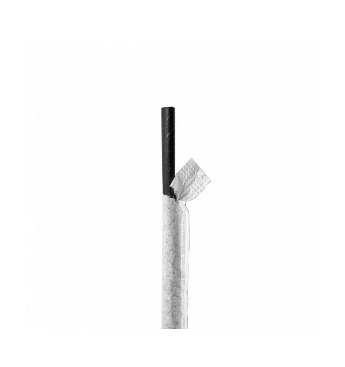 Paille Papier Noir Emballée à Blanc Ø6mm 21cm (6000 Utés)