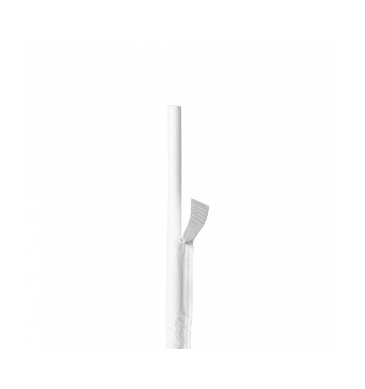 Paille Papier Blanc Emballée Blanc Ø6mm 21cm (250 Utés)