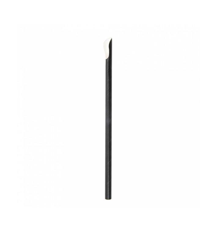 Paille Cuillère Papier Noir Ø8mm 21cm (100 Utés)