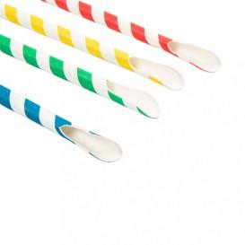 Paille Cuillère Papier Assortiment Ø8mm 21cm (5000 Utés)