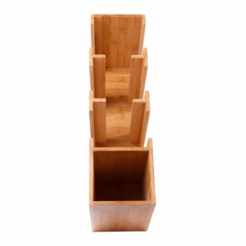 Organisateur Gobelet, Couvercle, Paille Bambou 14x50x50cm (1 Uté)