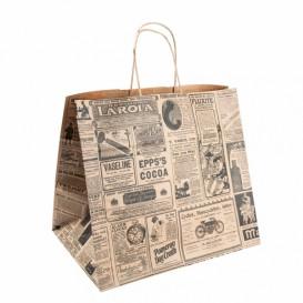 Sac Papier Kraft Naturel times et Anses 26+14x32 cm (250 Utés)