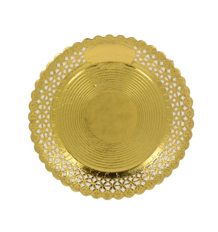 Assiette en Carton Ronde Dentelle Doré 35 cm (100 Utés)