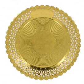 Assiette en Carton Ronde Dentelle Doré 28 cm (100 Utés)