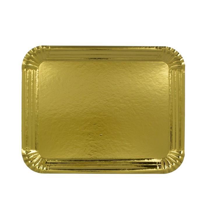 Plat rectangulaire en Carton Doré 14x21 cm (100 Unités)
