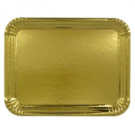Plat rectangulaire en Carton Doré 28x36 cm (100 Unités)