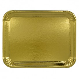 Plat rectangulaire en Carton Doré 40x50 cm (25 Unités)