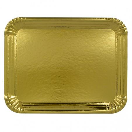 Bandeja de Cartón Rectangular Oro 22x28cm (Paq.100 unid)