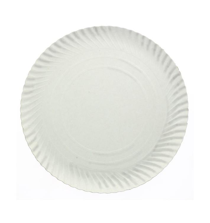 Assiette en Carton Ronde Blanc 210 mm 500g/m2 (100 Unités)