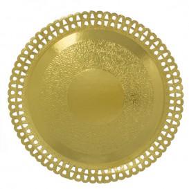 Assiette en Carton Ronde Dentelle Doré 230 mm (200 Utés)