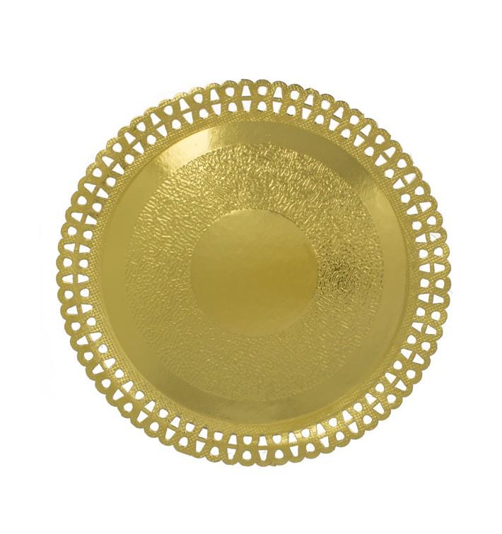 Assiette en Carton Ronde Dentelle Doré 290 mm (50 Utés)