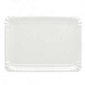 Plat rectangulaire en Carton Blanc 14x21 cm (100 Unités)