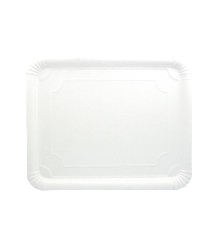 Plat rectangulaire en Carton Blanc  31x38 cm (50 Utés)