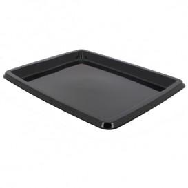 Plateau Plastique Rectangulaire Noir 316x265x20mm (50 Unités)