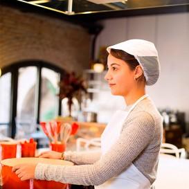Casquette Cuisinière avec Filet Coton Blanc (25 Unités)