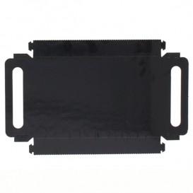 Plateau Rectangle Carton Noir Poignées 12x19 cm (100 Utés)