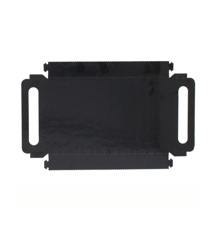 Plateau Rectangle Carton Noir Poignées 22x28 cm (100 Utés)