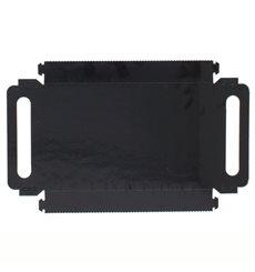 Plateau Rectangle Carton Noir Poignées 28,5x38,5 cm (100 Utés)
