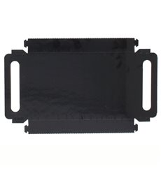 Plateau Rectangle Carton Noir Poignées 30x12 cm (100 Utés)
