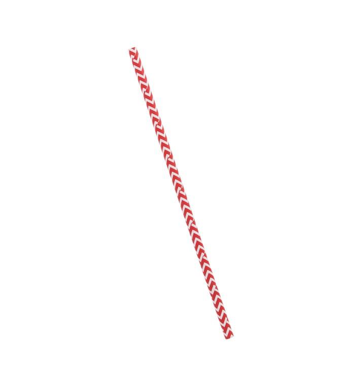 Paille Droite Papier Rouge et Blanc Ø6mm 20cm (100 Utés)