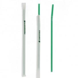Paille Flexible Emballée PLA Vert Ø6mm 24cm (4800 Utés)