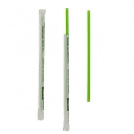 Paille Droite Emballée PLA Verte Ø6mm 20cm (250 Utés)