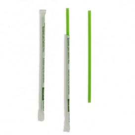 Paille Droite Emballée PLA Verte Ø6mm 20cm (6500 Utés)