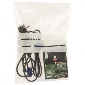 Sac en PE Fermeture zip à bandes blanches 25x35cm G160 (100 Utés)