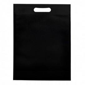 Sac Non-Tissé avec Anses Découpées Noir 30+10x40cm (200 Utés)