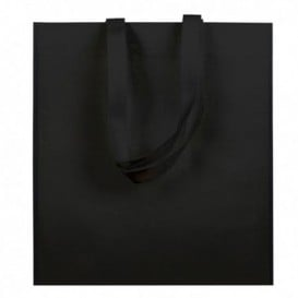 Sac Non-Tissé avec Anses Longues Noir 38x42cm (200 Utés)