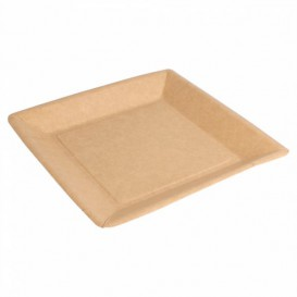 Assiette en Papier Biocoated Naturel Carrée 23cm (400 Utés)