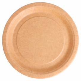 Assiette en Papier Biocoated Naturel Ø18cm (400 Utés)