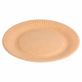 Assiette en Papier Biocoated Naturel Relief Ø18cm (20 Utés)