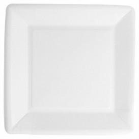 Assiette en Papier Biocoated Blanc Carrée 18cm (400 Utés)