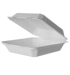 MenuBox Canne à sucre blanche avec PLA 23x23x7,5cm (50 pcs)