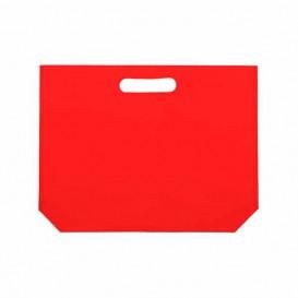 Sac Non-Tissé avec Anses Découpées Rouge 34+8x26cm (200 Utés)
