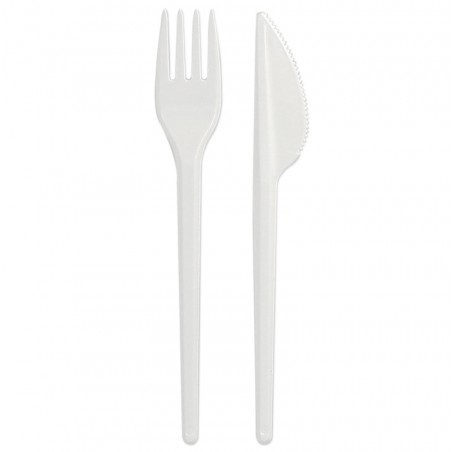 Kit Couverts: Fourchette et Couteau Blanc (25 Unités)