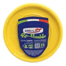 Assiette Creuse Plastique Ronde Octogonal Jaune Ø220 mm (25 Utés)