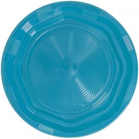Assiette Plate Plastique Ronde Octogonal Bleu Clair Ø170 mm (25 Utés)