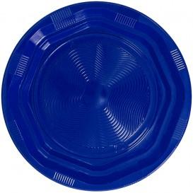 Assiette Plastique Ronde Octogonale Bleu Ø170 mm (425 Utés)
