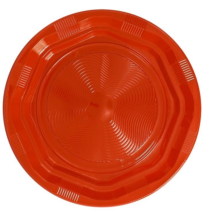 Assiette Plastique Ronde Octogonal Orange Ø170 mm (25 Utés)