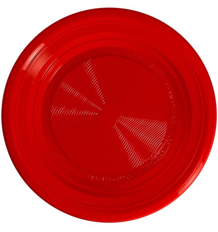 Assiette Amidon Mais PLA Creuse Rouge Ø220 mm (375 Utés)
