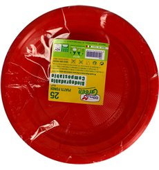 Assiette Amidon Maïs PLA Plate Rouge Ø220 mm (25 Utés)
