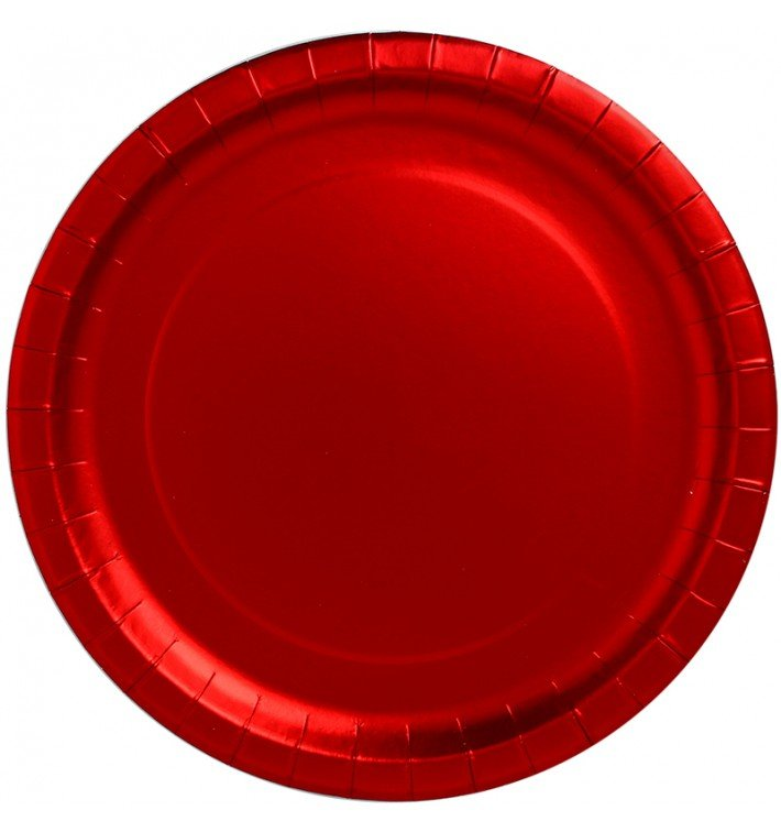 """Assiette ronde Carton """"Party"""" Rouge Ø340mm (3 Unités)"""