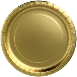 "Assiette ronde Carton ""Party Shiny"" Or Ø230mm (10 Unités)"