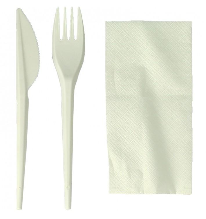 Kit Fourchette, Couteau, Serviette Amidon Maïs PLA (100 Utés)