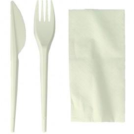 Kit Fourchette, Couteau, Serviette Amidon Maïs PLA (300 Utés)