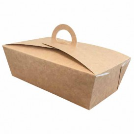 "Boîte Kraft avec poignées ""Gourmet Bag"" 20x10x7cm (140 Utés)"