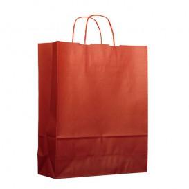Sac en Papier Kraft Rouge avec Anses 100g 25+11x31cm (25 Utés)