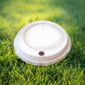 Couvercle avec trou en Fibre Moulée blanc Ø9,0cm (50 Utés)
